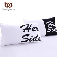 His & Her Side Couples Pillow case (2Pcs)