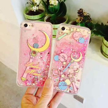 ZMASI Flowing Paillette Sailor Moon Case for iPhone 8 7 7plus 6 6s plus Shimmering Tsukino Usagi Plastic Back Case Funda Cover