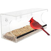 Bird Feeders By Stephanie Clear Acrylic Window Mounted, Strong Suction Cups, Squirrel Proof, Large Sectioned Seed Tray With Drain Holes, Wind And Rain Resistant
