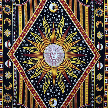 Hippie Celestial Twin Sun Tapestry Burning Sun Star Tapestries Moon Indian Wall Hanging Solar Eclipse Planets Bedsheet Day Light Bedspread