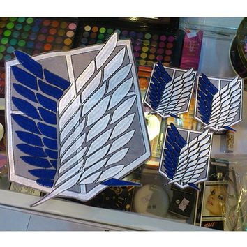 Cool Attack on Titan 4pcs/set  Survey Corps Wings Cloth Stickers Anime Ver. Recon Corps Emblem no  Cosplay Blue Badges AT_90_11