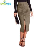 Smoves Vintage Solid Color High Waist Slit Midi Skirt New Suede Skirts Casual Woman Skirt Pencil