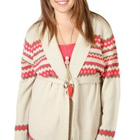 Plus Size Long Sleeve Navajo Print Cozy with Open Front and Belt