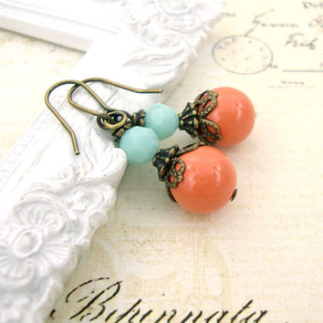 Coral and Mint Earrings - Victorian Vintage Style Earrings - Swarovski Crystal Bronze Mint and Coral Earrings - Antique Brass Vintage Coral