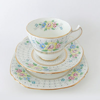 Hand Painted China Tea Set.  1950s China Tea cup.  English Bone China Tea Cup,  Saucer and Plate. China Trio. Pastels. Tea for One.