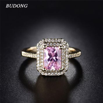BUDONG 2017 Fashion Double Halo Finger Ring Gold-Color Princess Cut Pink Crystal Zircon Engagement Jewelry For Women XUR308