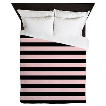 Duvet Cover - Pink and Black Striped Duvet Cover - Pink Duvet Cover - Black Stripes - Girls Duvet Cover - Teen Bedding - Gift Ideas for Her