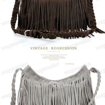 Women Lady Celebrity Tassel Suede Shoulder Bag Messenger Handbag Cross Body Bag