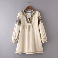 Geometric Embroidered Drawstring Long Sleeves A-Line Mini Dress