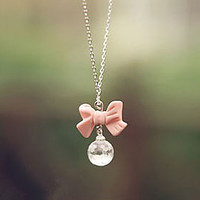 Lureme Pink Bowknot Crystals Necklace FREE SHIPPING
