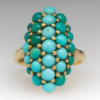Ladies 18K Yellow Gold Turquoise Cabochon Ring