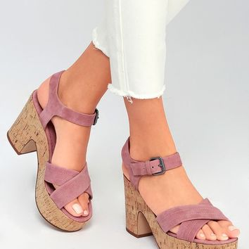 Flaire Rose Pink Suede Leather Cork Platform Sandals