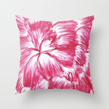 Pink and White Dahlia Throw Pillow by Lindsay