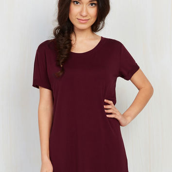Simplicity on a Saturday Tunic in Merlot | Mod Retro Vintage Short Sleeve Shirts | ModCloth.com