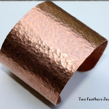 Extra Wide Copper Cuff Bracelet - Hammered Cuff - Copper Bracelet - Gift For Her - Solid Copper - Statement Jewelry - 2 Inch Width