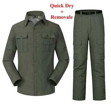 Men Quick Dry Removable Breathable Hiking Shirts & Pants Spring Summer Outdoor Clothing Set Windproof UV Protect Clothes RM046