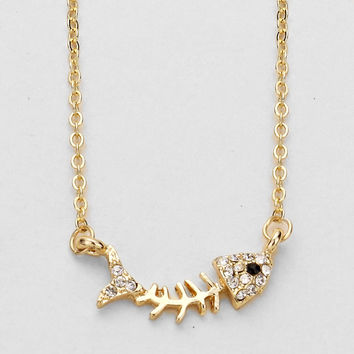 Rhinestone Fish Bone Pendant Necklace - Gold