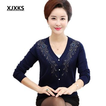 XJXKS Spring and autumn long-sleeved cardigan sweater women loose knit sweaters big yards S-5XL all-match diamonds Cardigan