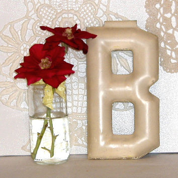 Vintage Industrial Marquee Letter B c1900 Salvage Original Paint Architectural 6 Inch Initial Alphabet Font
