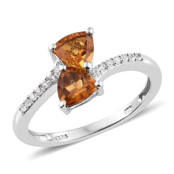 Citrine, Cambodian Zircon Platinum Over Sterling Silver Bypass Ring