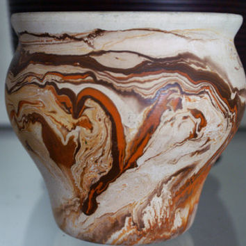 Nemadji Pottery - Beautiful Vintage Colorful Ceramic Vase - Made in USA