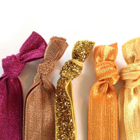 Gold Magenta Rust Taupe Glitter Neutral Hair Ties by emmaflhair