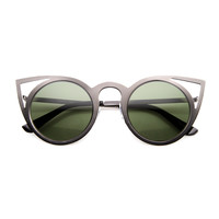 Women's Indie Fashion Round Laser Cut Metal Cat Eye Sunglasses 9788