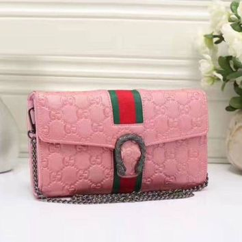 Gucci Stylish Ladies Shopping Bag Leather Stripe Satchel Shoulder Bag Crossbody Pink I