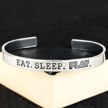 Eat. Sleep. Play. - Retro Games - Video Games - Aluminum Bracelet