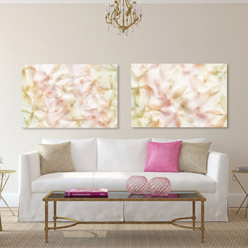 Large canvas art set, pastel wall art, bedroom canvas art, flower photography set of 2, abstract canvas art, ethereal art, romantic art