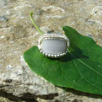 Wire Wrap Ring Blue Lace Agate 925 Sterling Silver Size 6 Handmade Heady Jewelry