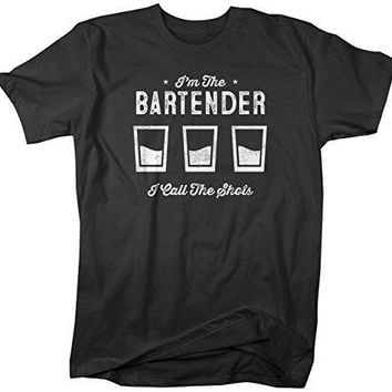 Shirts By Sarah Men's Funny Bartender T-Shirt I Call The Shots Distressed Profession