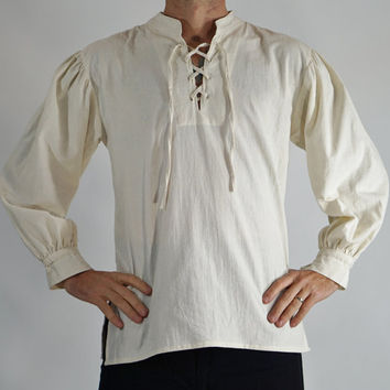 MERCHANT SHIRT High Collar CREAM - White Steampunk shirt, pirate costume,viking shirt, pirate tunic, renaissance costume, medeival clothing