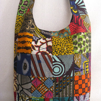 African print patchwork sling bag/ethnic purse/bright multi-color hippie/bohemian bucket bag/black lining