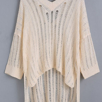 Limited Handmade Hollow Out Beige Loose Long Blouse for Womens Gift-69