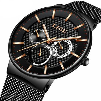 Mens Fashion Larger Dial Mens Casual Quartz with Mesh Steel Band
