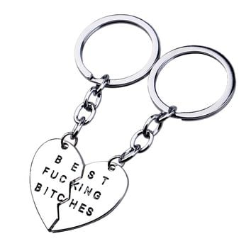 New Arrival Key Chain Broken Heart Keyrings Silver Plated Best Bitches Friendship Keychain For Best Friend Keyring Gifts