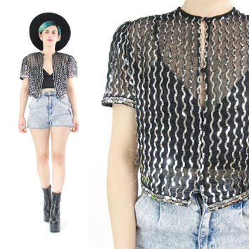 80s Cropped Sequin Jacket  Sheer Sequins Jacket Black Silver Jacket  Short Sleeve Vintage Bolero Jacket Puffed Sleeves Glam Party Top (S)