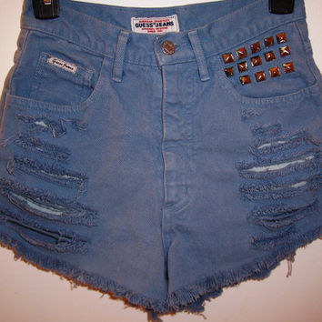 Vintage Guess High Waisted Studded Denim Shorts by BohoJane