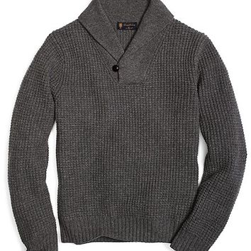 Saxxon™ Wool Shawl Collar Thermal Stitch Sweater - Brooks Brothers