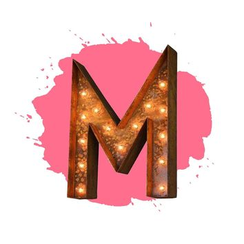 "18"" Letter M Lighted Vintage Marquee Letters (Modern Font/Rustic)"