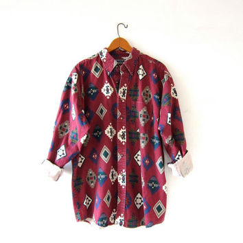 Vintage Southwestern western shirt. Tribal print button down. Oversized boyfriend shirt.
