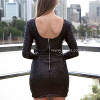 FLOURISH IN DARKNESS DRESS , DRESSES, TOPS, BOTTOMS, JACKETS & JUMPERS, ACCESSORIES, 50% OFF , PRE ORDER, NEW ARRIVALS, PLAYSUIT, COLOUR, GIFT VOUCHER,,Sequin,BODYCON,Black,LONG SLEEVES,MINI Australia, Queensland, Brisbane