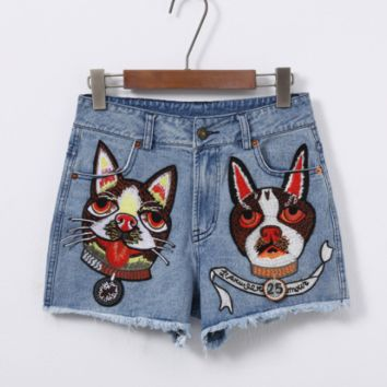 GUCCI spring/summer new G family gold dog embroidered design with high waist ladies denim shorts