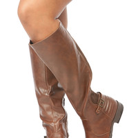 Brown Faux Leather Knee High Horse Riding Boots