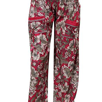 Womens Harem Pants Two Pockets Red Printed Boho Palazzo Trousers
