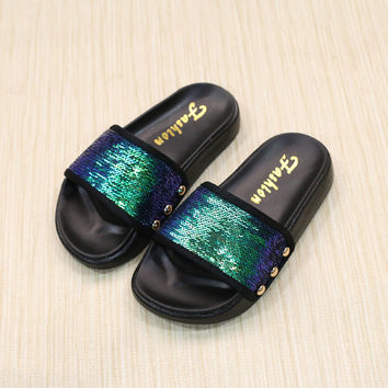 2017 Summer Princess Baby Girls Mermaid Sandals Glitter Beach Slides Shoes for Kids Casual Sandals PU Leather Children's Shoes