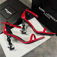 YSL Fashionable Women Princess Retro Red High Heels High-Heeled Shoes Sandals