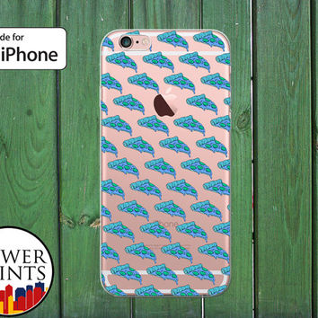 Blue Pizza Pattern Pepperoni Food Funny Cute Tumblr Clear Rubber Phone Case for iPhone 5/5s and 5c and iPhone 6 and 6 Plus + and iPhone 6s