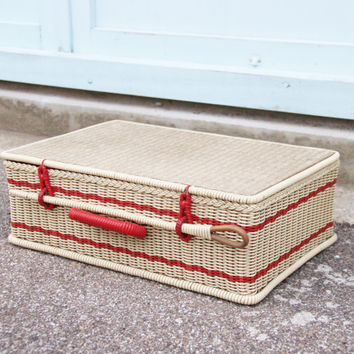 Scoubidou red gingham suitcase picnic 60s Vintage / Holy10